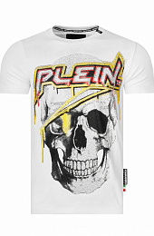 "Футболка со стразами Philipp Plein ""Skull"" - White / Yellow"