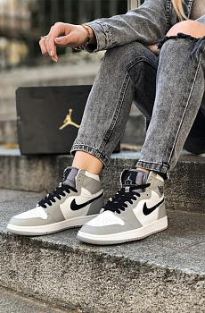 Кроссовки AJ1 Mid - Light Smoke Grey